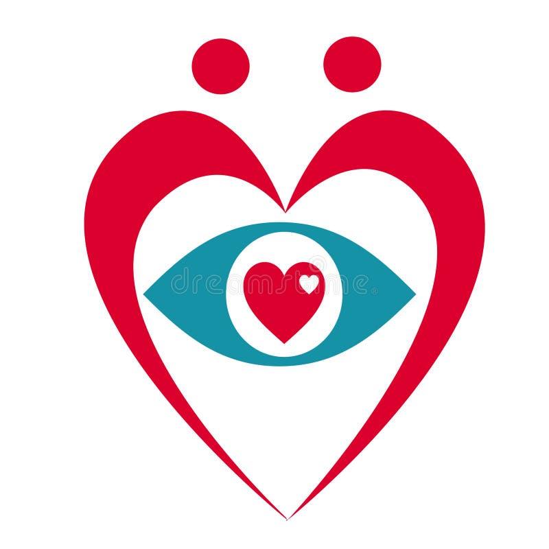 Heart and Eye Logo royalty free illustration