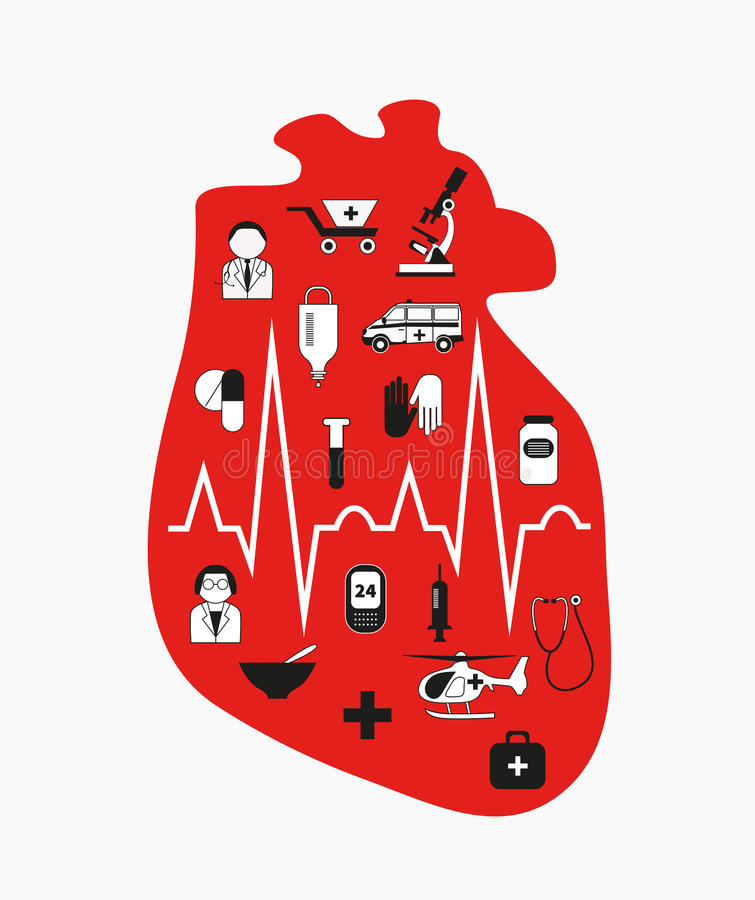 Heart failure. Anatomical red heart. vector illustration