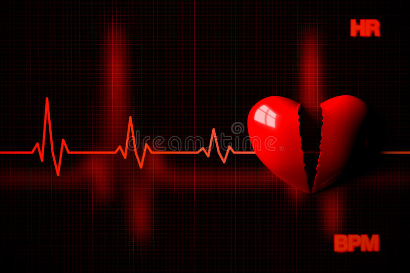 Heart Failure Concept Illustrated by Broken Heart, 3D Rendering royalty free illustration