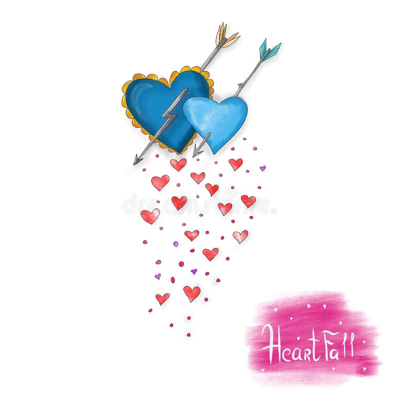 Download Heart Fall For Valentine`s Day. Stock Illustration - Image: 83710566