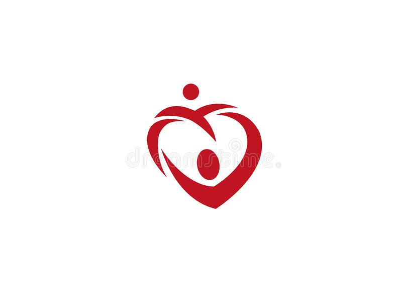 Heart family  caring kids and baby for logo design illustration vector illustration