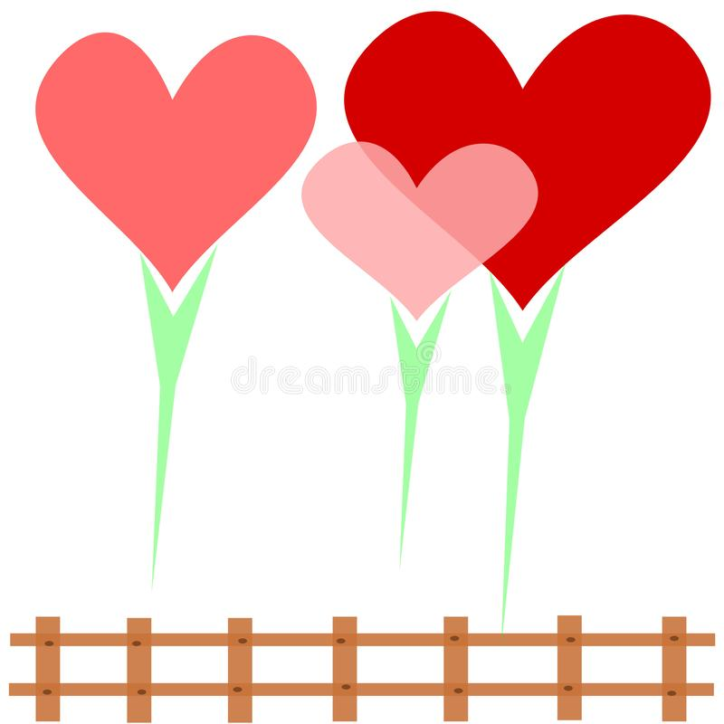Heart family, 3 hearts surrounded by love on a white background Surrounded by a brown fence vector illustration