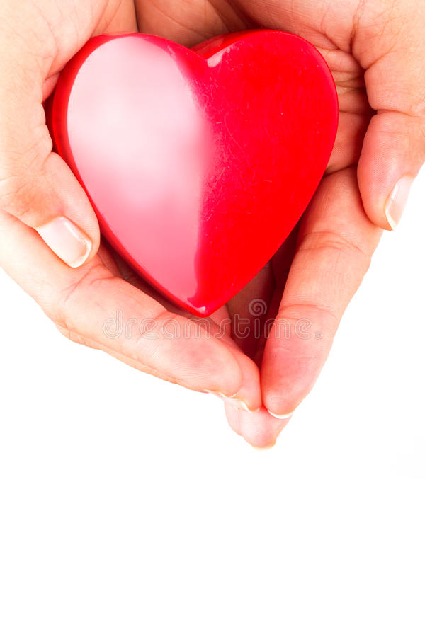 Download Heart In Female Hands Over White Stock Image - Image: 29096615