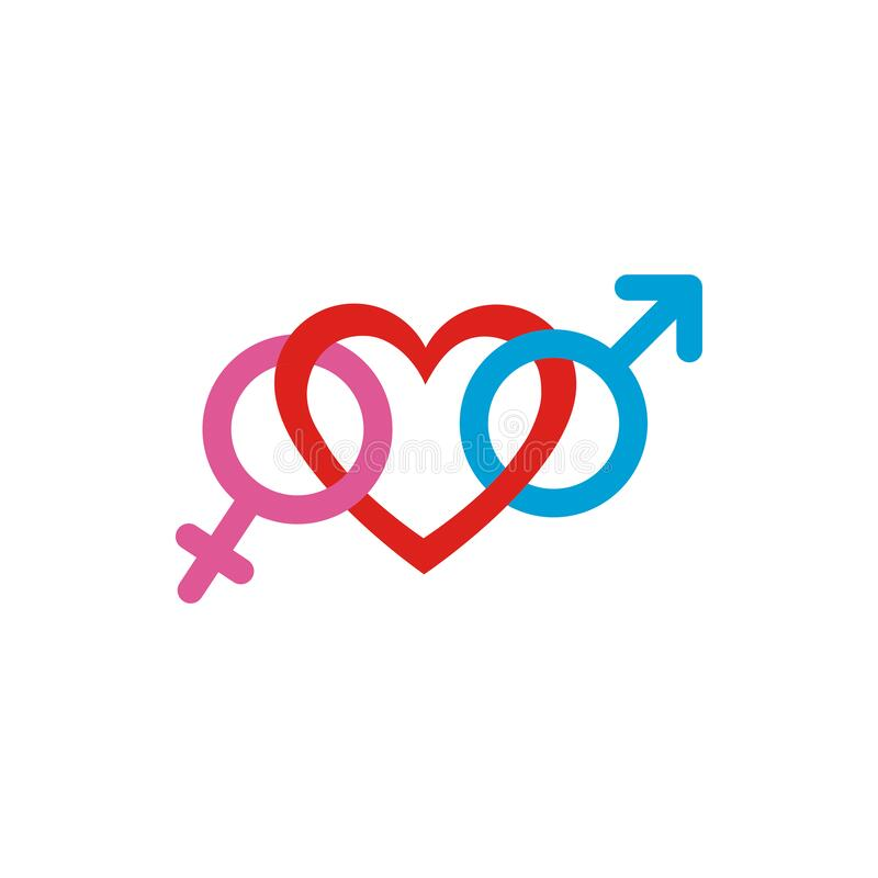 Heart with female and male gender symbols vector design. Heart with female and male gender symbols design of love passion romantic valentines day wedding stock illustration