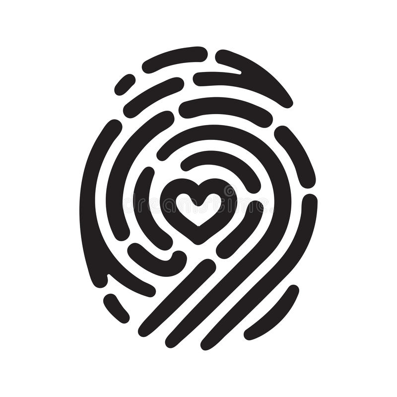 Heart finger print. Fingerprint with heart shape inside. Conceptual security logo or identification icon of dashed line finger print royalty free illustration