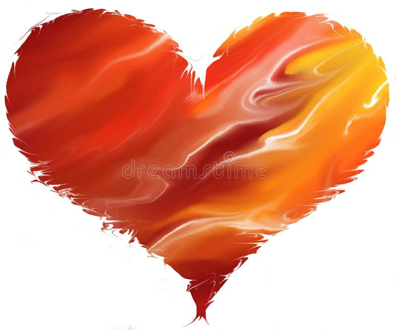 Heart on Fire. Liquid fire in a heart shape with rough edges stock illustration