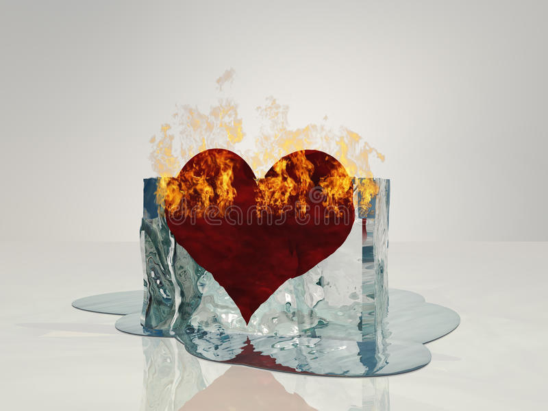 Heart on fire melting. Ice vector illustration