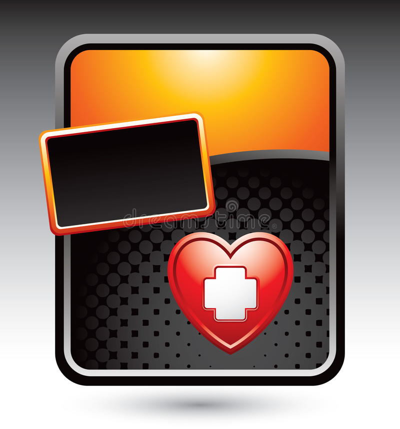 Heart with first aid icon on gold stylized banner stock illustration