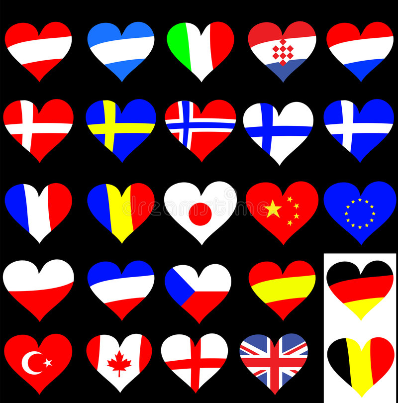 Download Heart Flag Collection stock illustration. Illustration of europe - 6190631