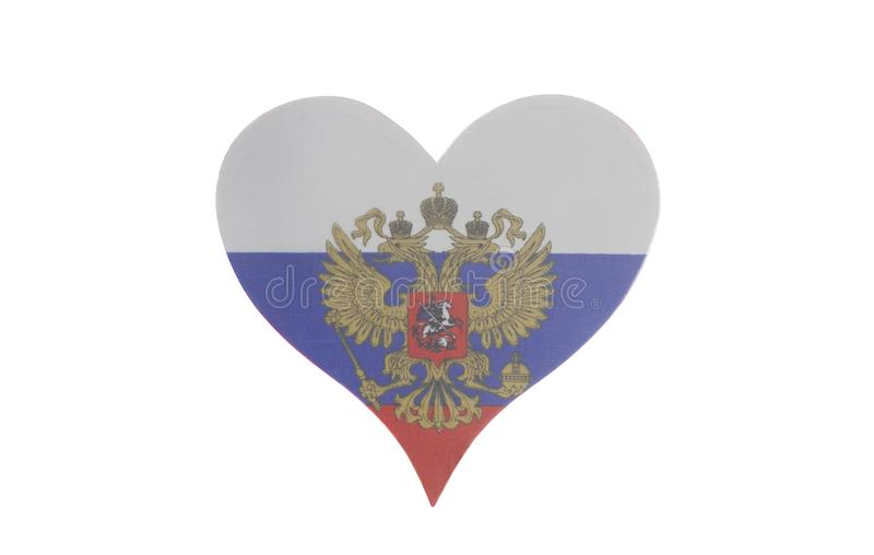 Heart with Flag of the Russian Federation. Isolated on a white background stock images