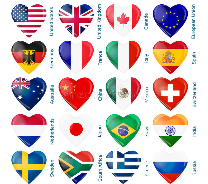 Download Heart flags popular stock vector. Image of national, flag - 28166421
