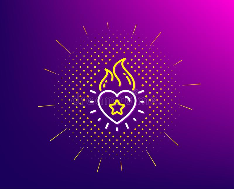 Heart flame line icon. Love fire emotion sign. Vector. Heart flame line icon. Halftone pattern. Love fire emotion sign. Valentine day symbol. Gradient background stock illustration