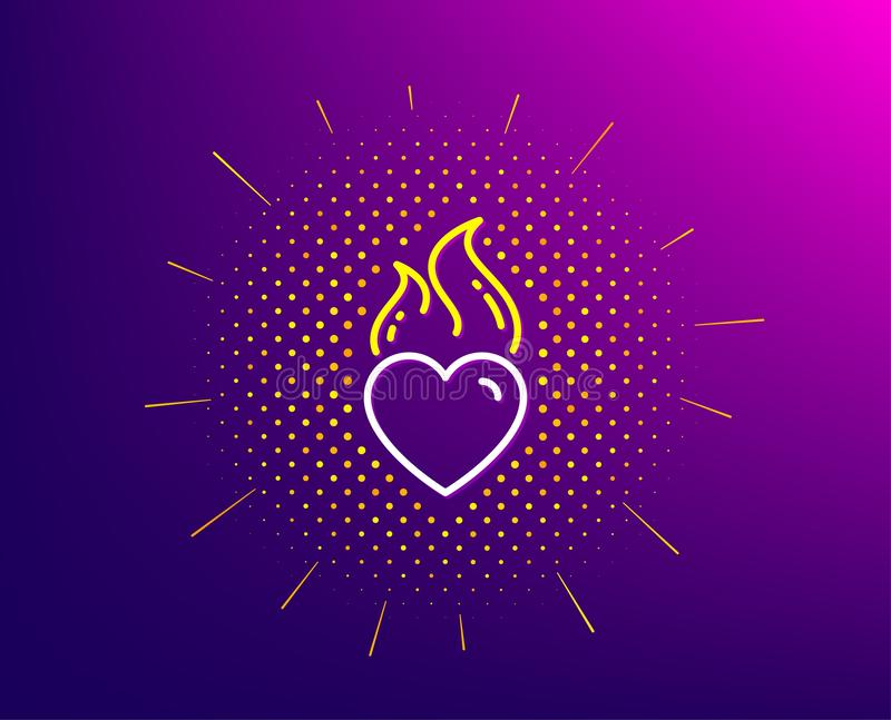 Heart flame line icon. Love fire emotion sign. Vector. Heart flame line icon. Halftone pattern. Love fire emotion sign. Valentine day symbol. Gradient background vector illustration