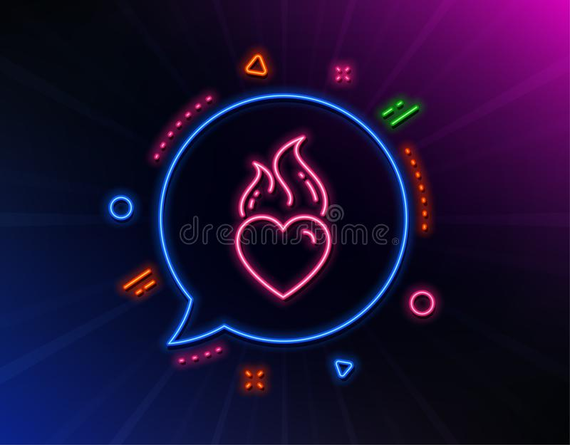 Heart flame line icon. Love fire emotion sign. Vector. Heart flame line icon. Neon laser lights. Love fire emotion sign. Valentine day symbol. Glow laser speech vector illustration
