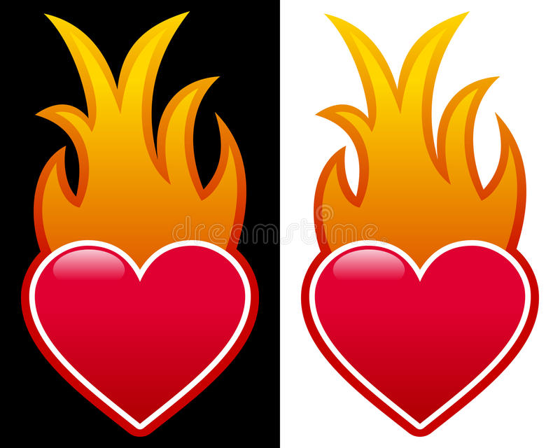 Heart with Flames royalty free illustration