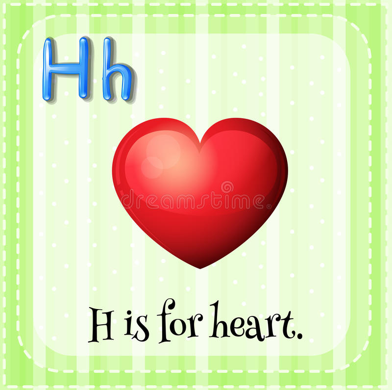 Heart. Flashcard letter H is for heart with green background royalty free illustration
