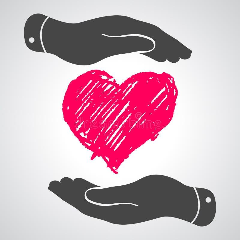 Heart in flat hands icon. Illustration stock illustration