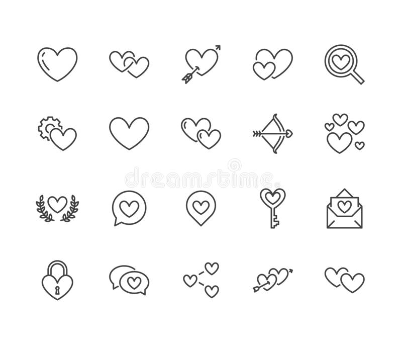 Heart flat line icons set. Love, dating site vector illustrations - two hearts shape, romantic date, private message stock illustration