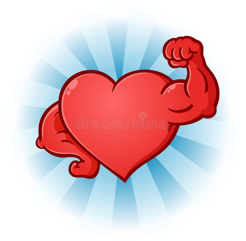 Heart Flexing Muscles Cartoon Character. A red heart cartoon character posing like a body builder with flexed muscles stock illustration