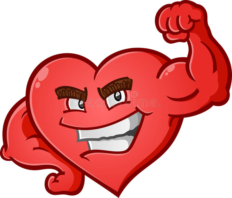 Heart Flexing Muscles Cartoon Character. A red heart cartoon character posing like a body builder and flexing his muscles stock illustration