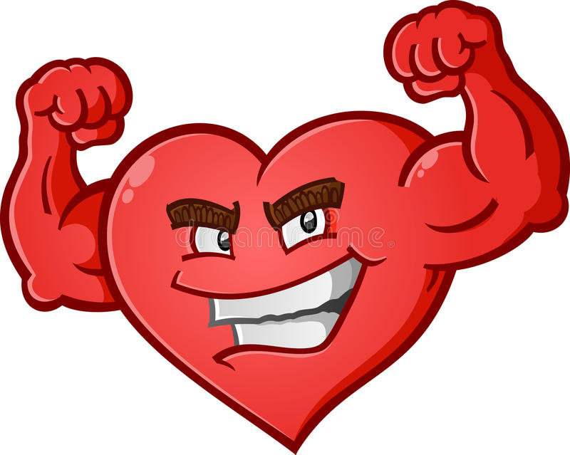 Heart Flexing Muscles Cartoon Character. A red heart cartoon character posing like a body builder and flexing his muscles vector illustration