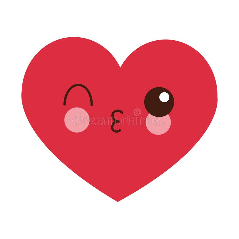 Heart flirting kawaii cartoon. Heart flirting cute kawaii cartoon vector illustration graphic design royalty free illustration