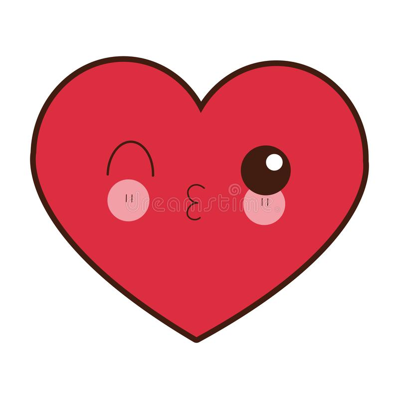 Heart flirting kawaii cartoon. Heart flirting cute kawaii cartoon vector illustration graphic design vector illustration