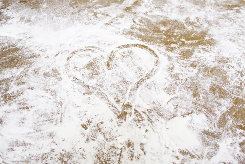 Heart flour royalty free stock photos
