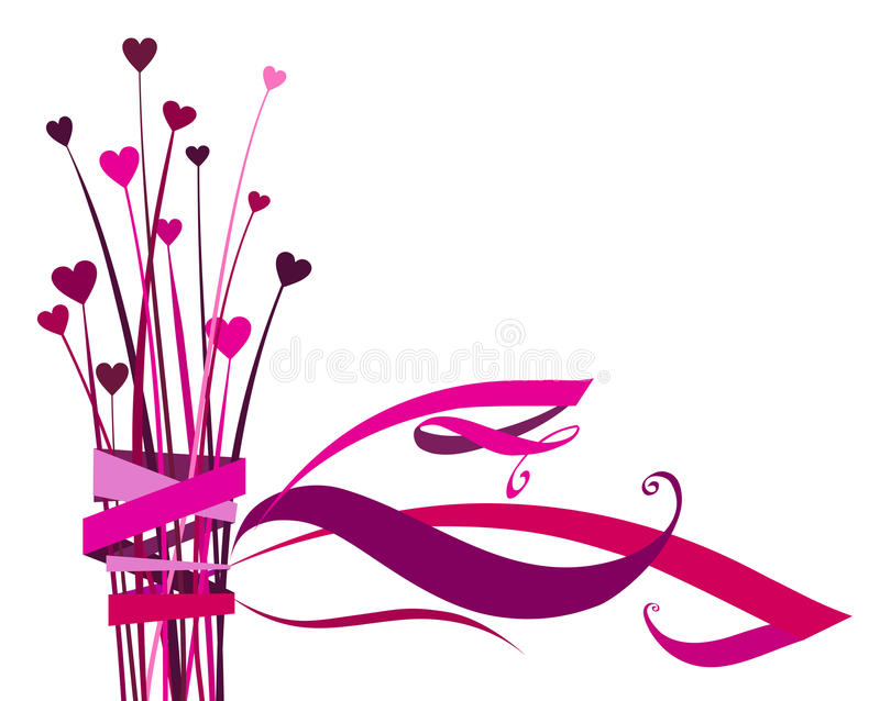 Heart flower with bow royalty free illustration