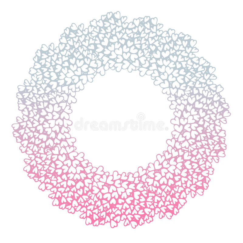 Heart flower bush pattern circle shape design pink purple. Gradients color illustration isolated on white background with copy space, vector eps10 stock illustration