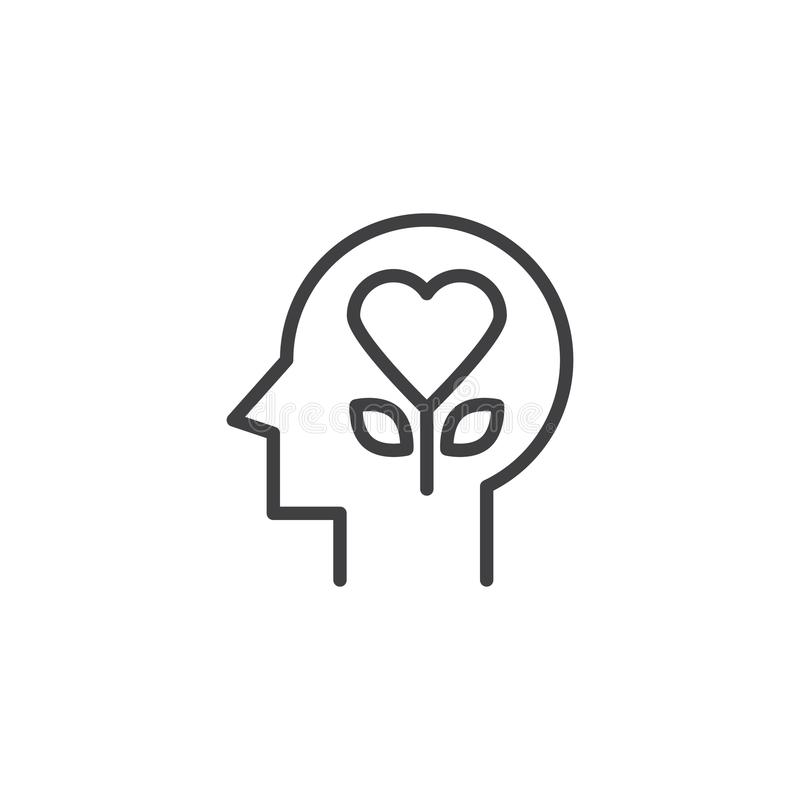 Heart flower in human head outline icon. Linear style sign for mobile concept and web design. Emotions simple line vector icon. Love symbol, logo illustration royalty free illustration