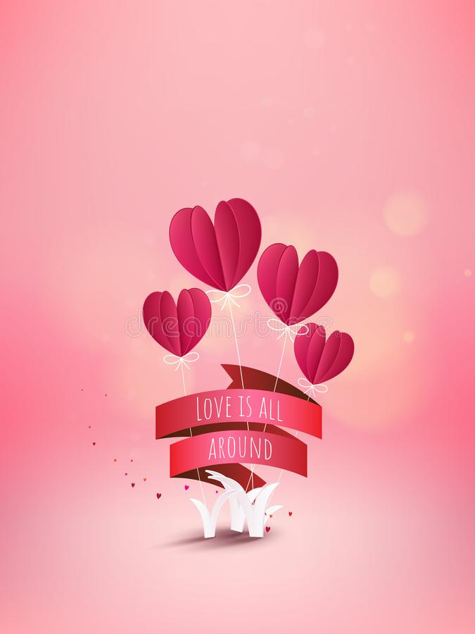 Heart flower with red ribbon and text LOVE IS ALL AROUND, love c stock illustration