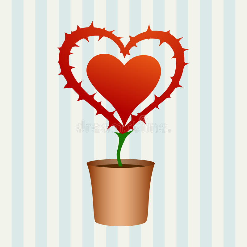 Heart flower with thorns royalty free illustration