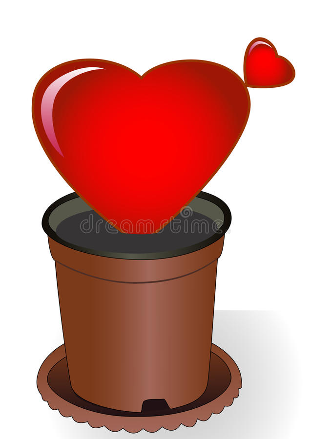 Heart in a flowerpot vector illustration