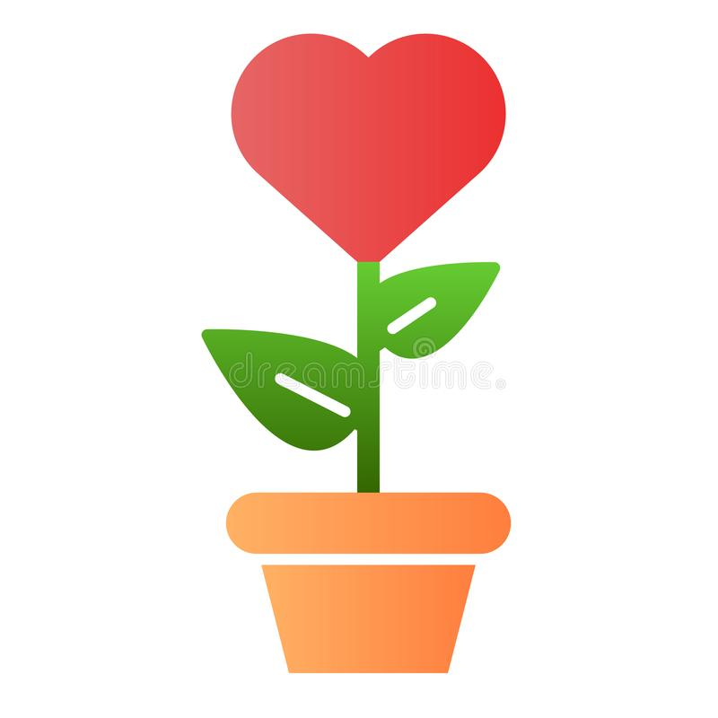 Heart in flowerpot flat icon. Heart shaped flower in pot color icons in trendy flat style. Love floral gradient style vector illustration