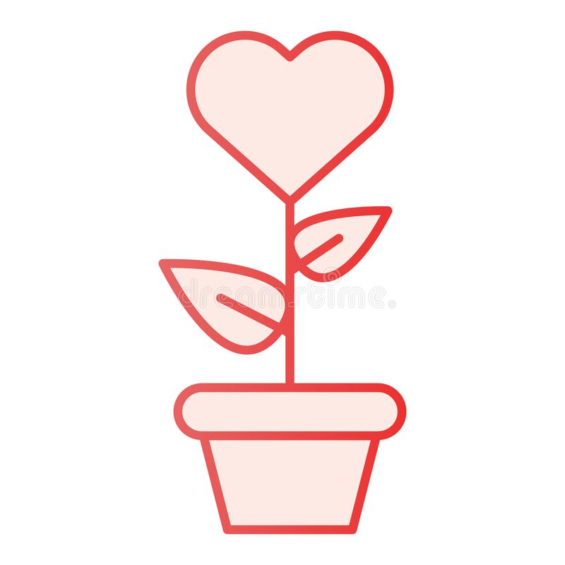 Heart in flowerpot flat icon. Heart shaped flower in pot pink icons in trendy flat style. Love floral gradient style royalty free illustration