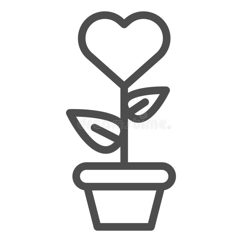 Heart in flowerpot line icon. Heart shaped flower in pot vector illustration isolated on white. Love floral outline. Style design, designed for web and app. Eps vector illustration