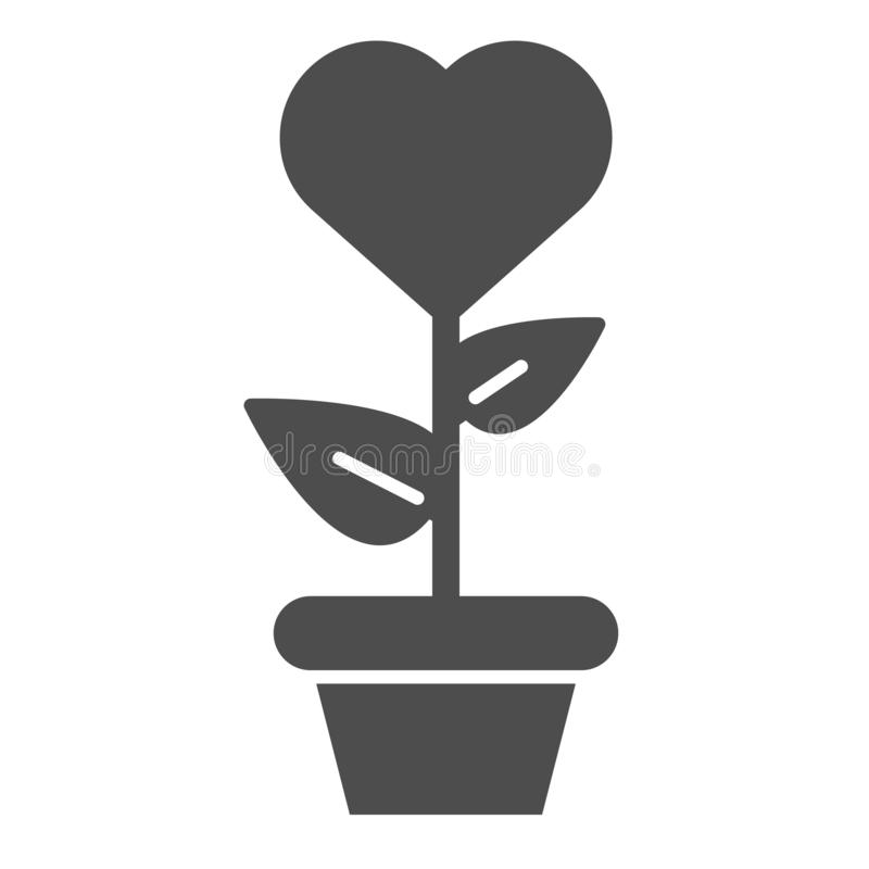 Heart in flowerpot solid icon. Heart shaped flower in pot vector illustration isolated on white. Love floral glyph style vector illustration