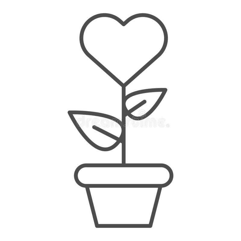 Heart in flowerpot thin line icon. Heart shaped flower in pot vector illustration isolated on white. Love floral outline vector illustration