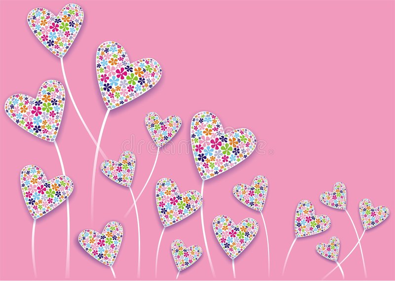 Download Heart flowers stock illustration. Image of pink, romance - 1814872