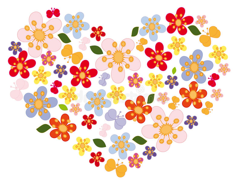 Heart of flowers and butterflies royalty free illustration