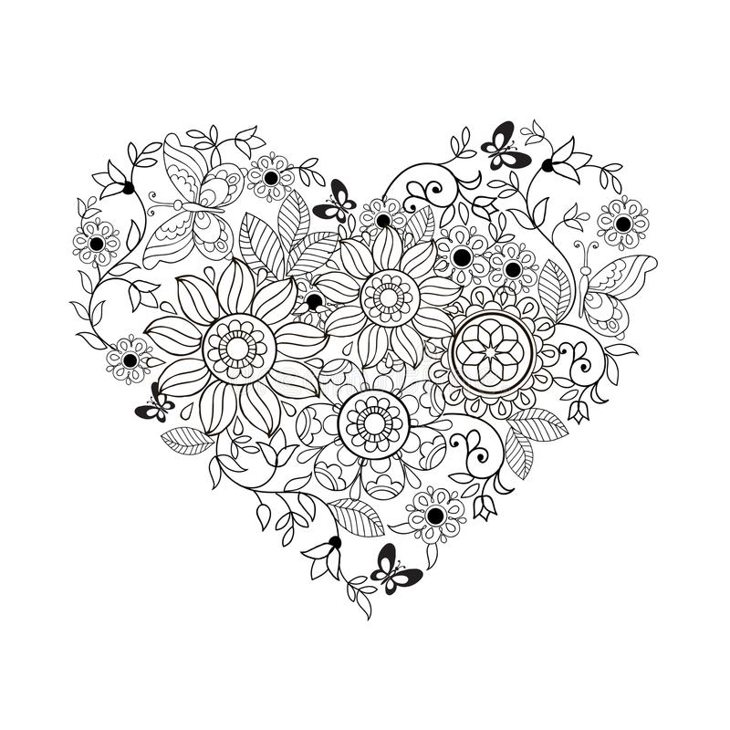 Heart of flowers and butterflies for coloring books for adults and older children.  vector illustration