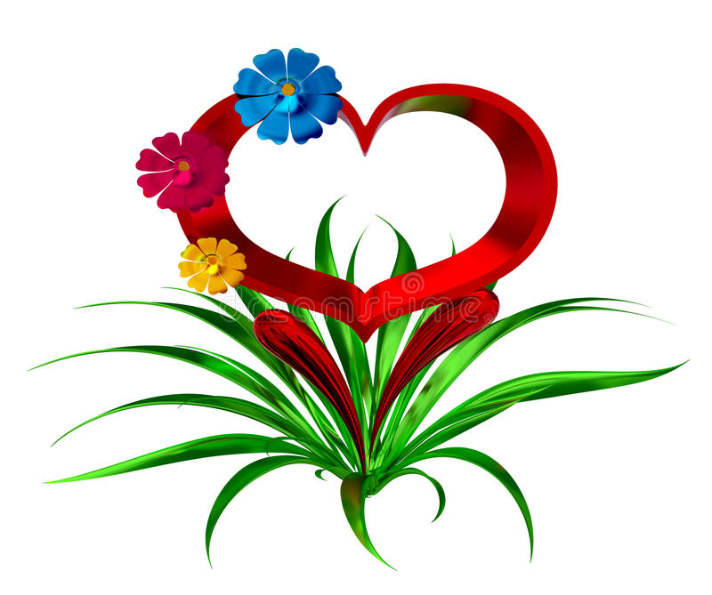 Download Heart With Flowers And Leaves Royalty Free Stock Photo - Image: 25867275