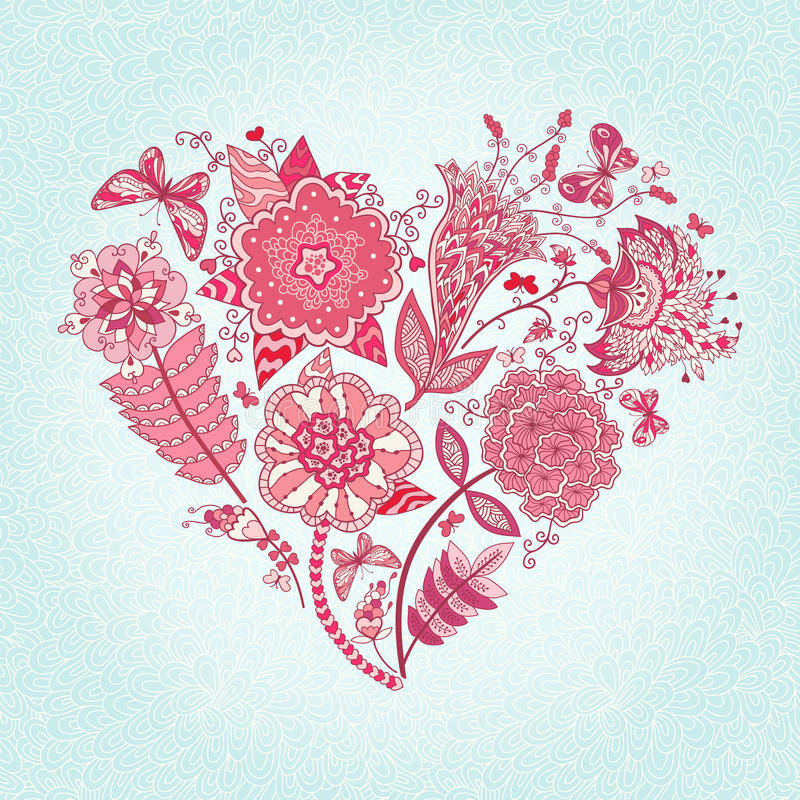 Heart of flowers. Vector greeting card with abstract flowers and butterflies. Heart of flowers vector illustration