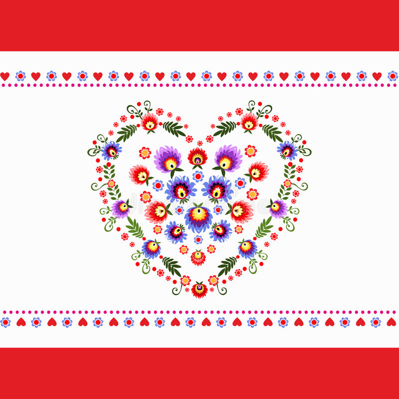 Free Heart Folk Embroidery Stock Images - 36264314