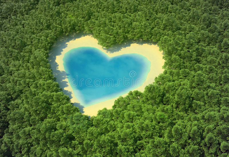Heart in the forest. Heart-shaped pond in a tropical forest royalty free illustration