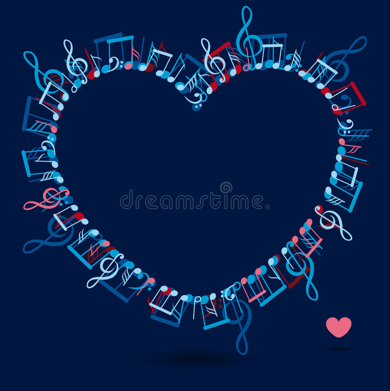 Heart frame with colorful music notes royalty free illustration