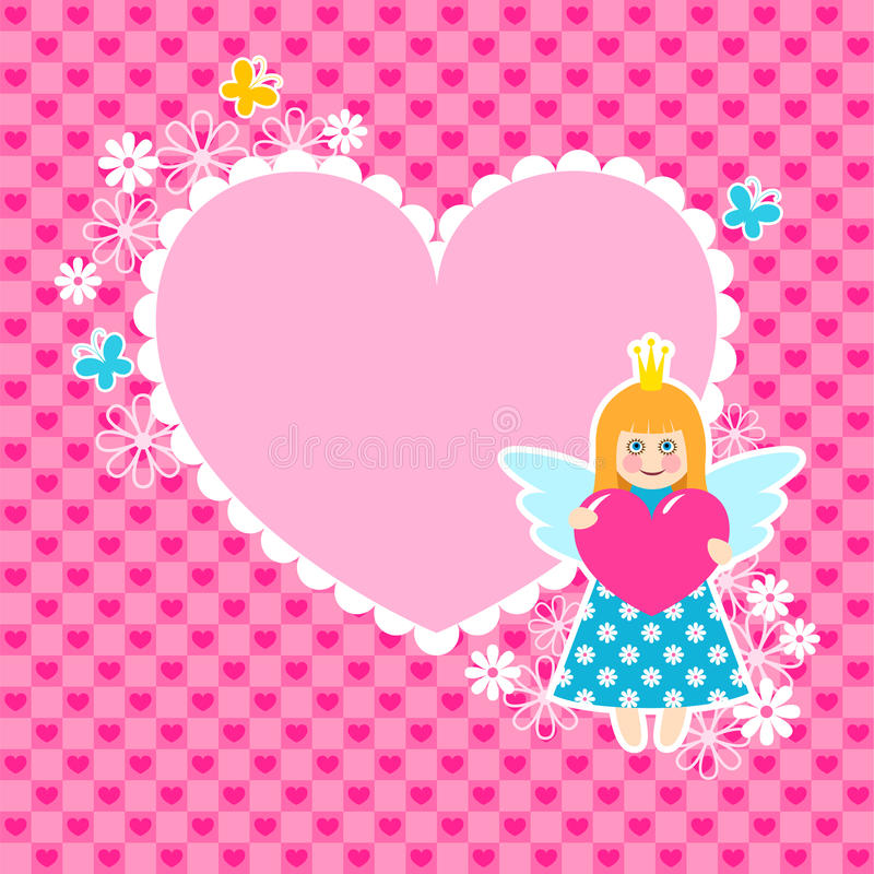 Download Heart Frame With Cute Princess Stock Illustration - Illustration: 17988436