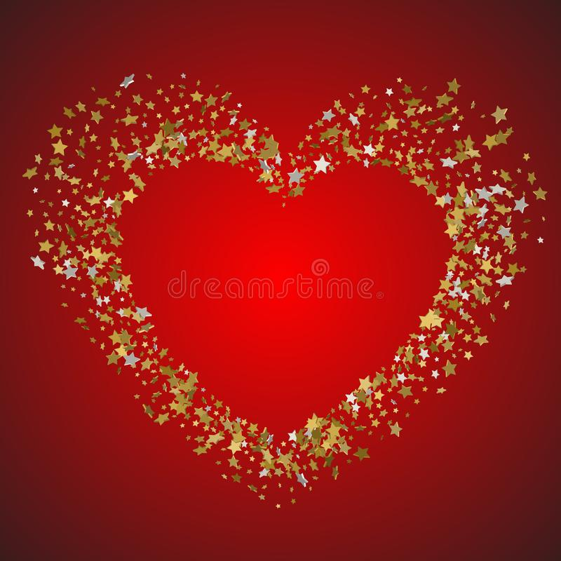 Heart in a frame of gold stars vector illustration