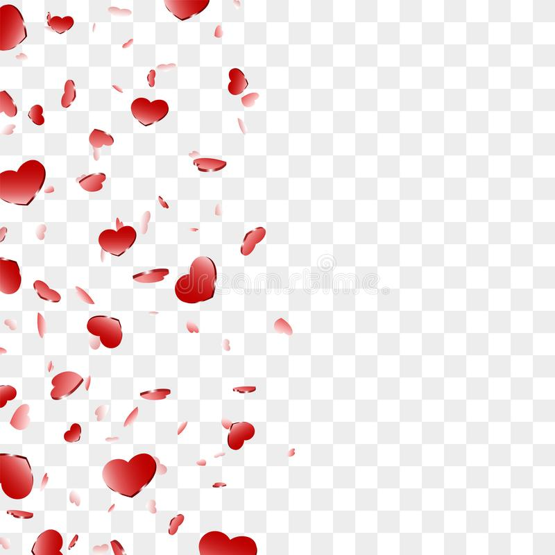 Heart frame isolated white background. Red hearts fall confetti border. Abstract heart-shape design love card, wedding royalty free illustration
